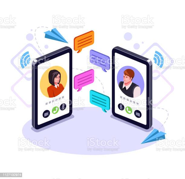 Two People Man And Woman Character Talking By Smart Phone Online Communication Email Message Concept Video Call Business Chat Vector Flat Graphic Design Cartoon Isolated Illustration - Arte vetorial de stock e mais imagens de A usar um telefone