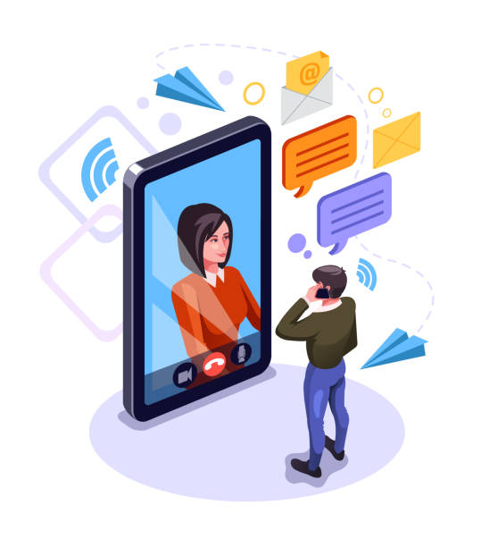 illustrazioni stock, clip art, cartoni animati e icone di tendenza di two people man and woman character talking by smart phone. online communication email message concept. video call chat. vector flat graphic design cartoon isolated illustration - woman chat video mobile phone