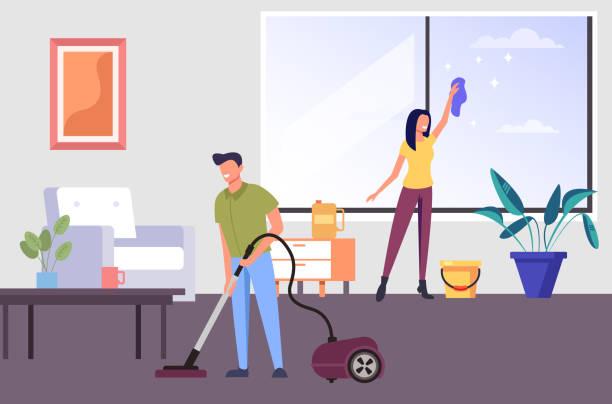 stockillustraties, clipart, cartoons en iconen met twee mensen man en vrouw personages schoonmaken woonkamer appartement samen. huiswerk concept. vector platte graphic design cartoon illustratie - opruimen