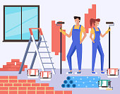 Two people man and woman characters making repair apartment renovation. Construction concept. Vector design flat graphic cartoon