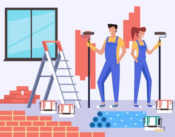Zwei Personen Mann und Frau Charaktere machen Reparatur Wohnung Renovierung. Baukonzept. Vector entwerfen flache Grafik-Zeichentrickfilme – Vektorgrafik