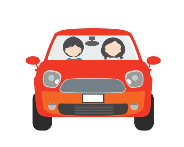 ilustrações, clipart, desenhos animados e ícones de duas pessoas, homem e mulher, sentado em um carro e dirigir em férias. utilizável para condução escolar ou taxi - vetor, design plano - carro mulher