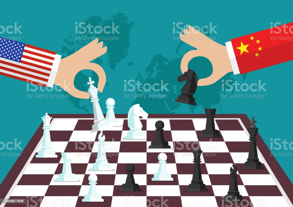 Two people playing chess vector art illustration