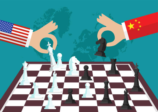 Two people playing chess Two people playing chess. Conflict between USA and China trade war stock illustrations
