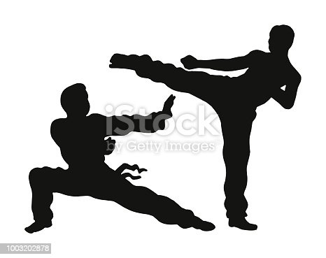 Two People Practicing Karate