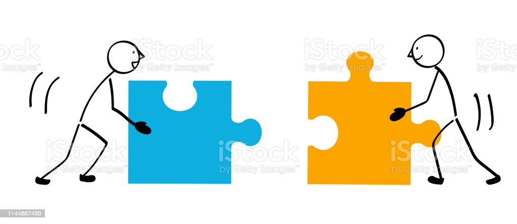 Two people puzzle and connection