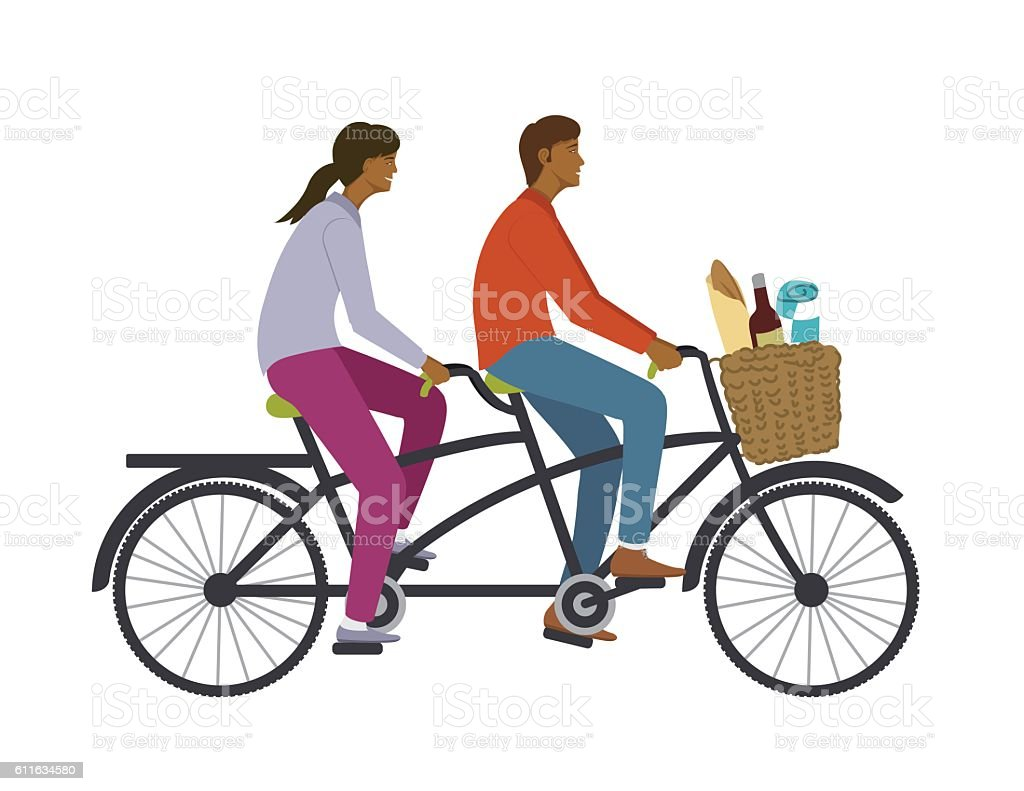 two people riding a tandem bike stock vector art more images of rh istockphoto com vintage tandem bike clipart