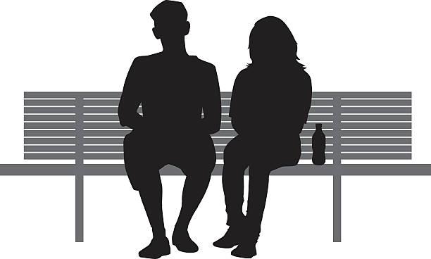 bildbanksillustrationer, clip art samt tecknat material och ikoner med two people sitting on bench - bench