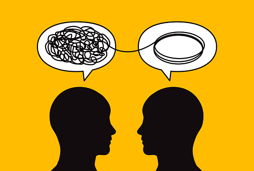 Two people solve problem, psychology, psychotherapy, business coaching. Vector illustration
