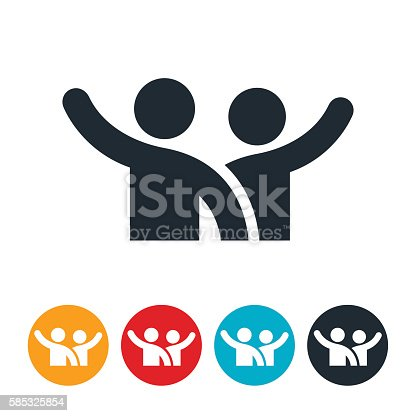 istock Two People Waving Icon 585325854