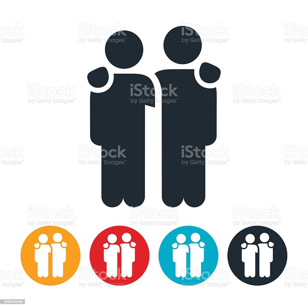 Two People with Arms Around Shoulders Icon vector art illustration