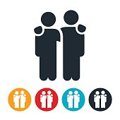 Two People with Arms Around Shoulders Icon