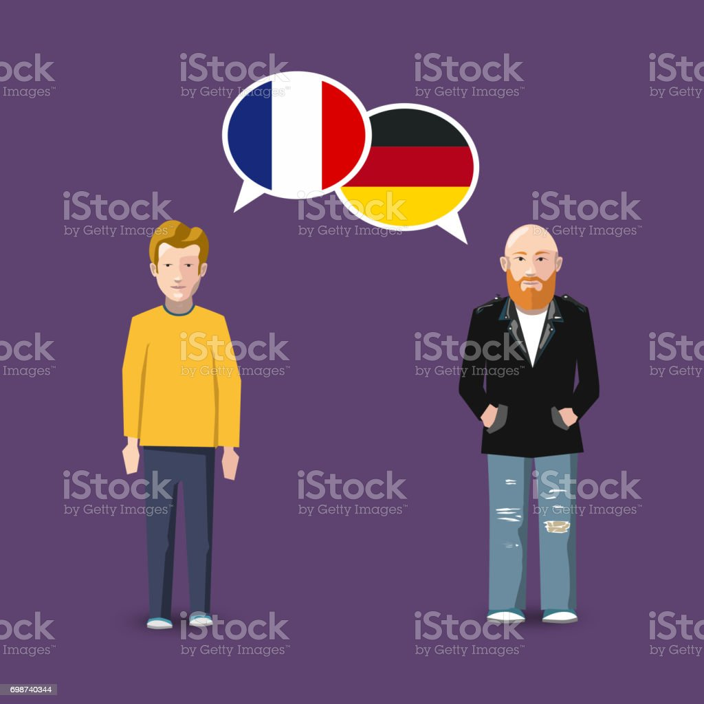 Two people with white speech bubbles with France and Germany flags. Language study conceptual illustration vector art illustration