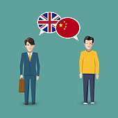 Two people with white speech bubbles with Great britain and China flags. Language study conceptual illustration