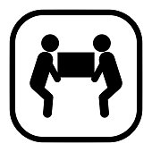 Two person heavy lift symbol icon vector for packaging concept