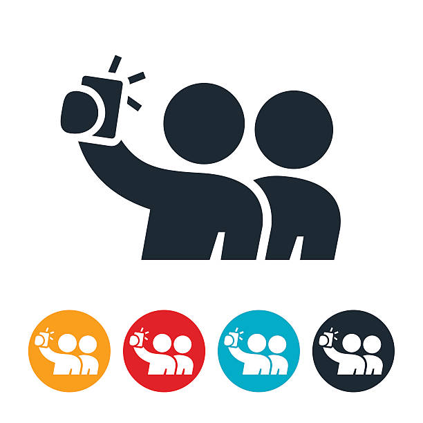 two person selfie icon - selfie stock-grafiken, -clipart, -cartoons und -symbole