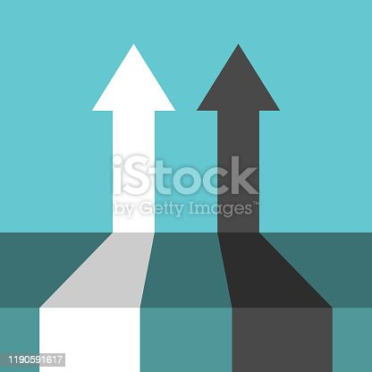 Two competitive arrows, black and white, on turquouise blue background. Perspective view. Competition, teamwork and cooperation concept. Flat design. Vector illustration, no transparency, no gradients