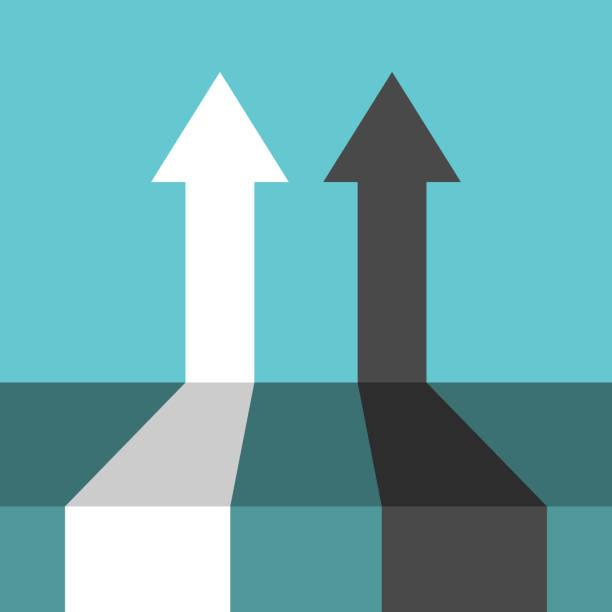 stockillustraties, clipart, cartoons en iconen met twee perspectief pijlen, competitie - parallel