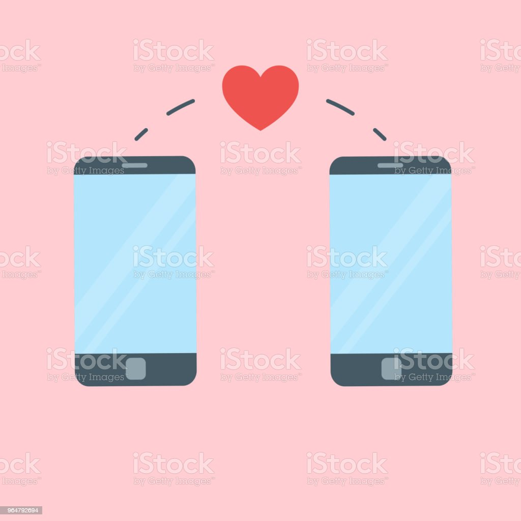 Two phones and heart sending between them royalty-free two phones and heart sending between them stock illustration - download image now