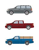Two pickup trucks and off-road car isolated on white background. Flat style, vector illustration.
