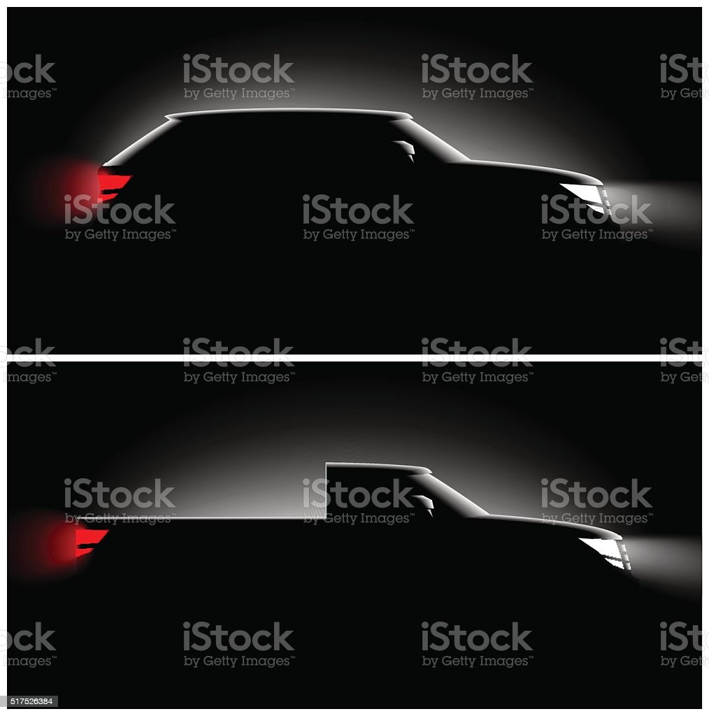 two pictures realistic pickup off-road car in the dark vector art illustration