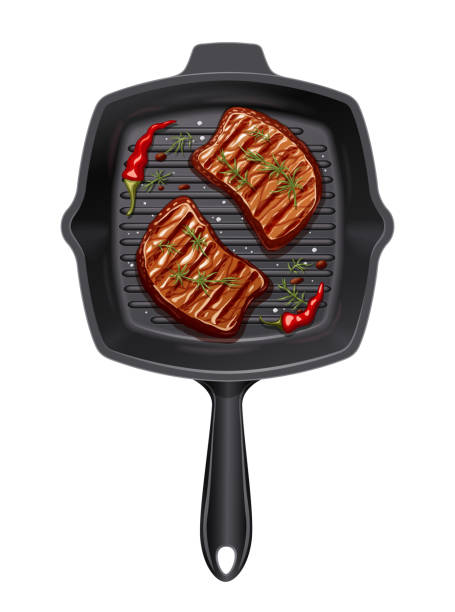 stockillustraties, clipart, cartoons en iconen met twee stuk vlees op de grill pan bak. - meat pan