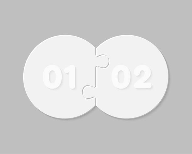 two pieces puzzle circles line info graphic. - dwa przedmioty stock illustrations