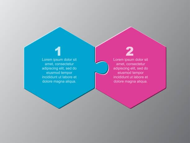 ilustrações, clipart, desenhos animados e ícones de duas peças quebra-cabeça hexagonal info gráfico - dois objetos