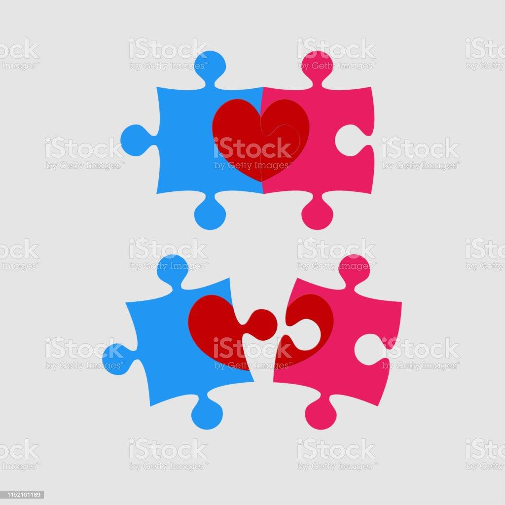 Deux Pieces Puzzle De Coeur Damour Jour De Valentine Vecteurs Libres De Droits Et Plus D Images Vectorielles De Amour Istock
