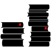 istock Two piles of books with bookmarks. Vector illustration 1202273144