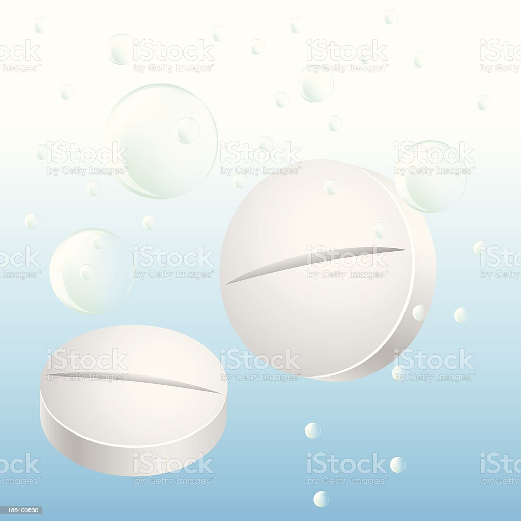 Two pills in water royalty-free stock vector art
