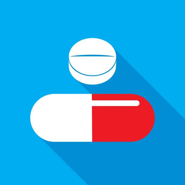 illustrazioni stock, clip art, cartoni animati e icone di tendenza di two pills shadow icon - contraccettivo