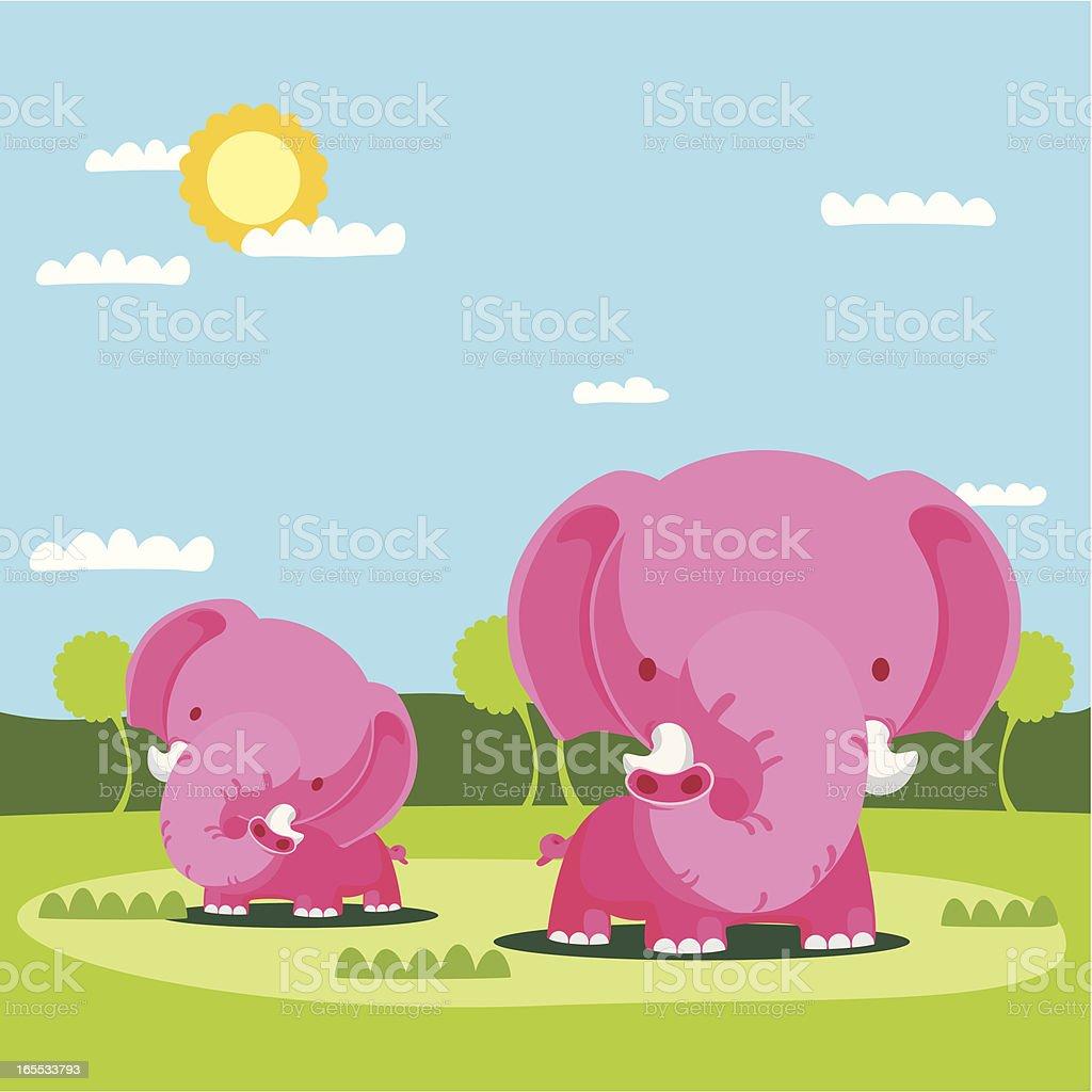 Two Pink Elephants in Field royalty-free stock vector art