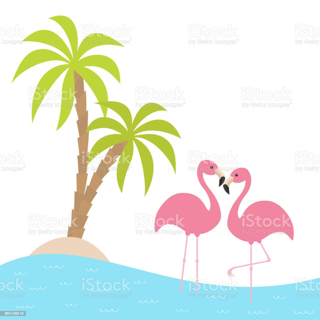 Two pink flamingo standing on one leg. Palms tree, island, ocean, see water. Exotic tropical bird. Zoo animal collection. Cute cartoon character. Love card Flat design. White background. royalty-free two pink flamingo standing on one leg palms tree island ocean see water exotic tropical bird zoo animal collection cute cartoon character love card flat design white background stock vector art & more images of abstract