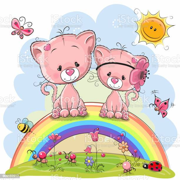 Two pink kittens are sitting on the rainbow vector id909569912?b=1&k=6&m=909569912&s=612x612&h=aasrrvy7wo0tfwxf3ttjmn4ysb2ndou7 d8pixq0fwo=