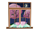 two pink mugs wrapped in light mint green scarf and standing on windows against the background of spring night with moon and stars. mugs tied together warming scarf. Flat cartoon vector illustration