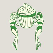 Two Pinups Holding Giant Cupcake