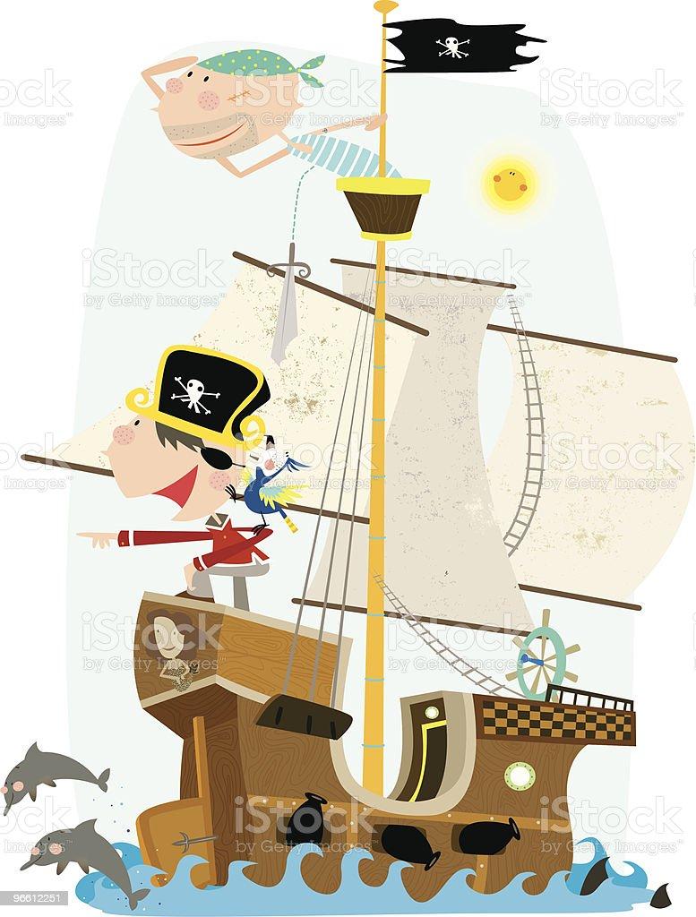 Zwei Pirates auf Piratenschiff, Blick auf das Meer - Lizenzfrei Augenklappe Vektorgrafik