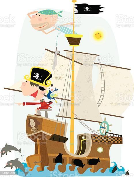 Two Pirates On Pirate Ship Looking Out To Sea-vektorgrafik och fler bilder på Arbetsfartyg