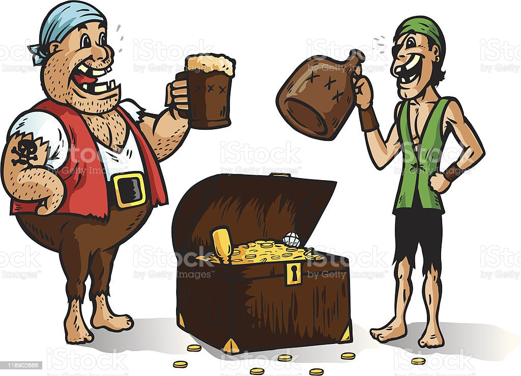 Two pirates with treasure. Part of a series. royalty-free stock vector art