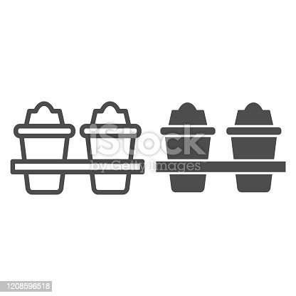 istock Two plastic coffee cups line and solid icon. Takeaway travel mugs for hot liquids. Plastic products design concept, outline style pictogram on white background, use for web and app. Eps 10. 1208596518