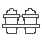 Two plastic coffee cups line icon. Takeaway travel mugs for hot liquids. Plastic products design concept, outline style pictogram on white background, use for web and app. Eps 10