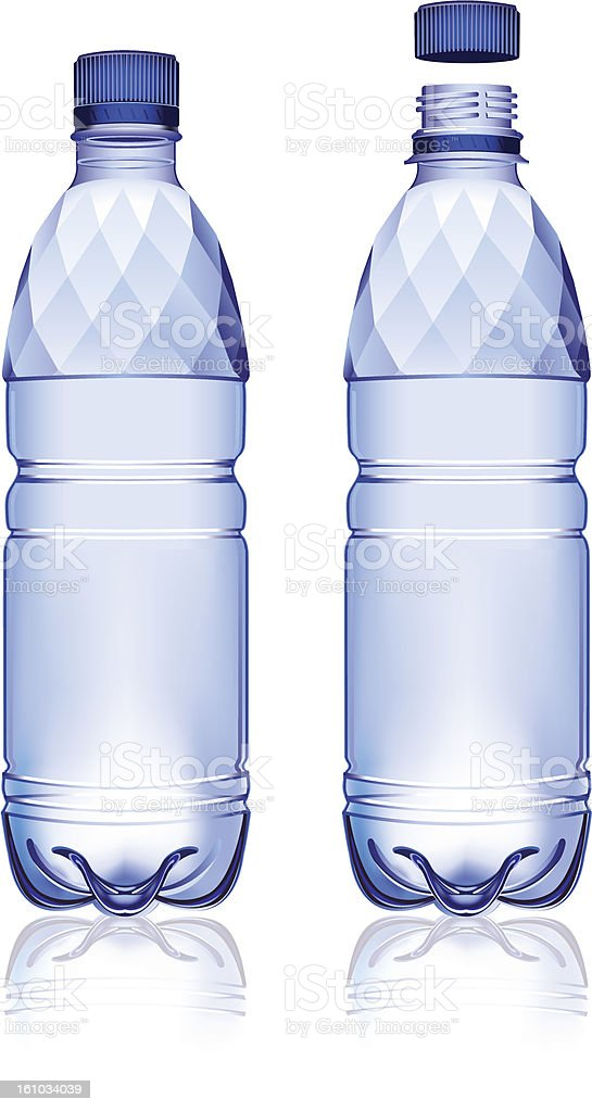 Two plastic mineral water bottles, one with the cap open vector art illustration