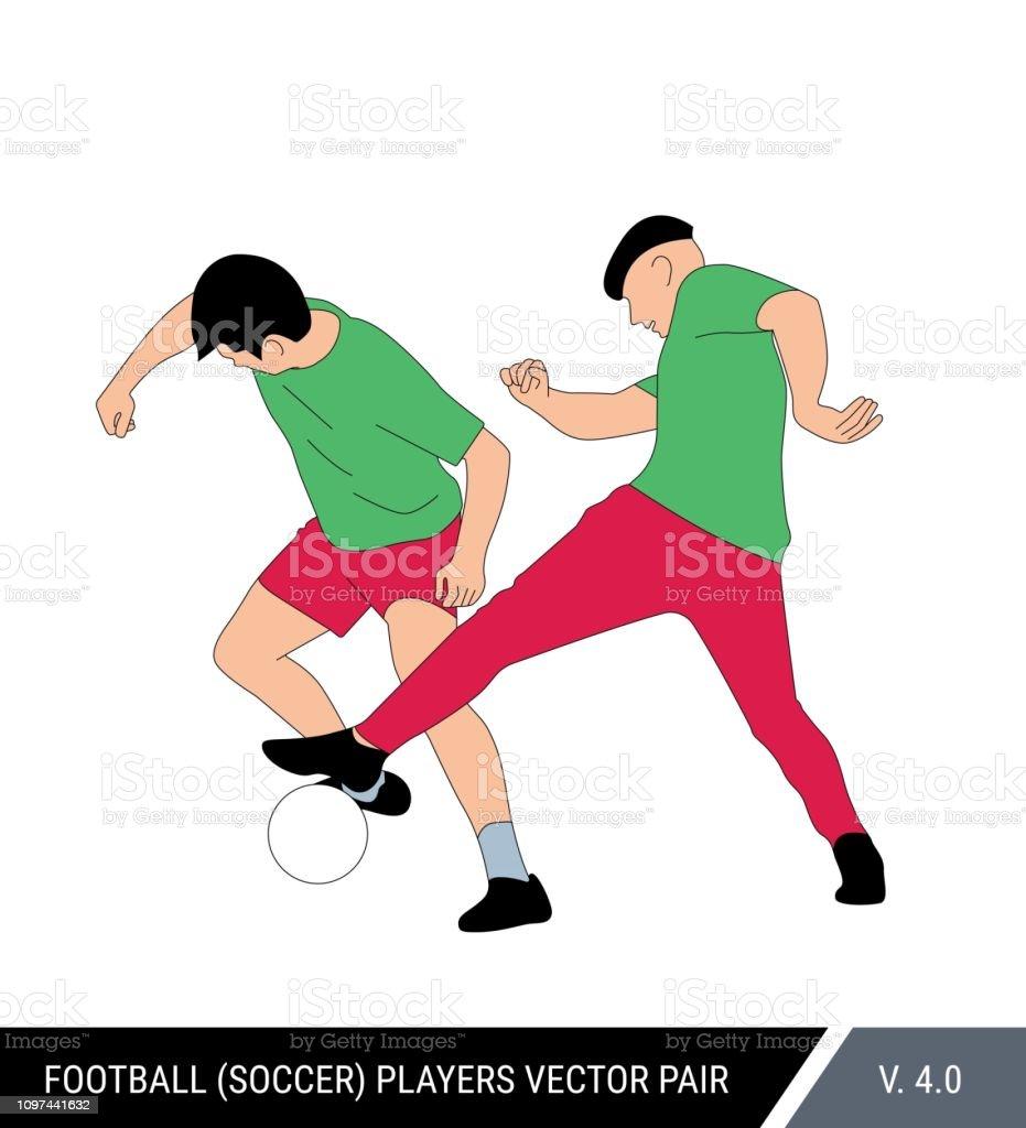 Dois jogadores da mesma equipe treinam uns contra os outros. Um jogador de futebol leva a bola do outro. Ilustração do vetor de cor. Figuras de futebol dinâmico. Par de futebol. - ilustração de arte em vetor
