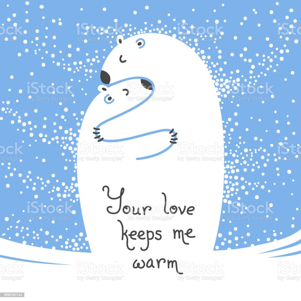 Two polar bears hugging each other. Greeting card with the vector art illustration