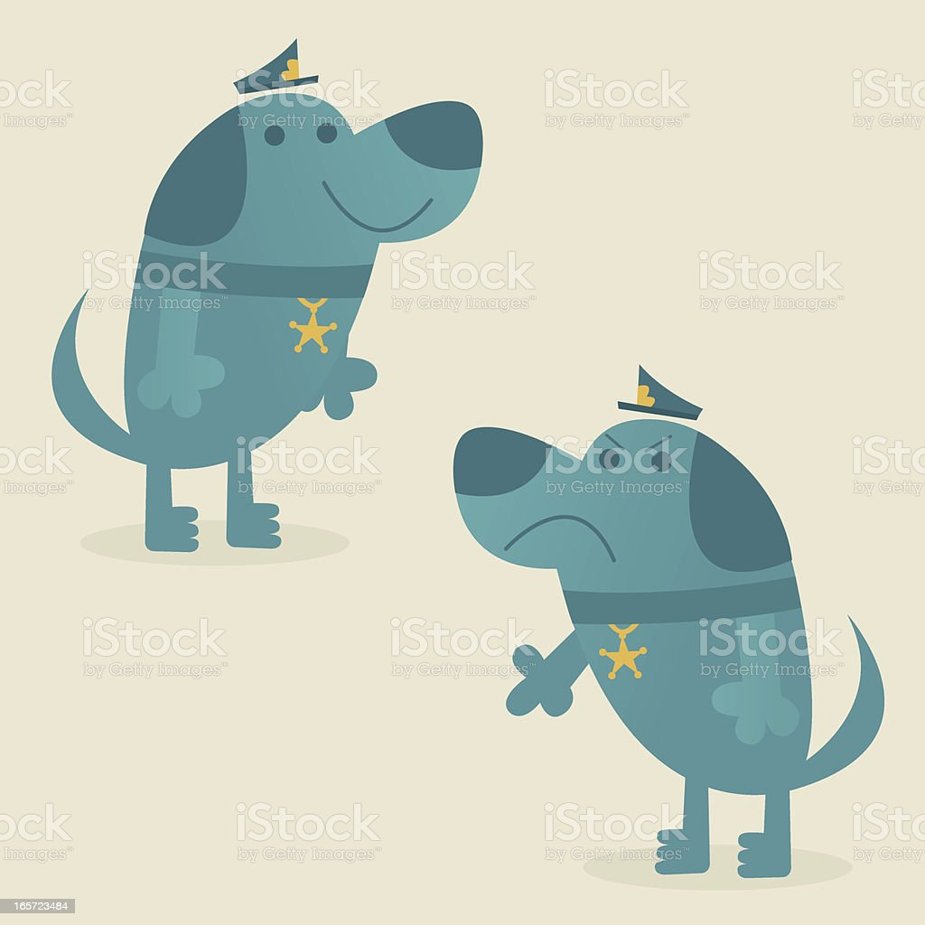 Two Police Dogs vector art illustration