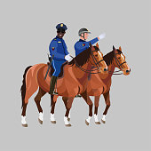 Two police officers on horseback. Vector illustration isolated on gray background