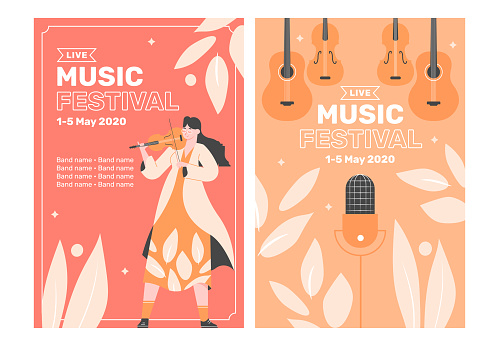 Two poster templates for a music festival. Girl with a violin, a guitar and a microphone. Classical and rock music, performances by musicians and singers. Summer fun. Vector flat.