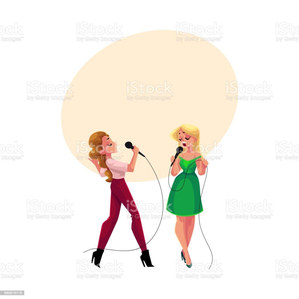 2 つの可愛い女の子女性のカラオケ パーティーコンテスト競争一緒に歌う