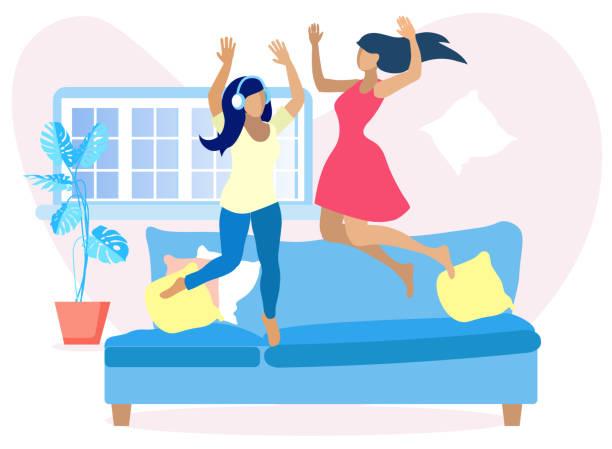 ilustraciones, imágenes clip art, dibujos animados e iconos de stock de dos bonitas mujeres divirtiéndose en casa salta en el sofá - hermana